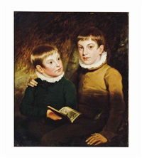 portrait of two boys by american school