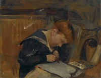 boy reading at a table by thomas benjamin kennington
