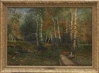 pojke och flicka vid skogsväg by oscar törnå