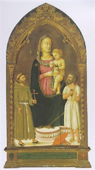the madonna and child with saints francis of assisi and jerome by giovanni di ser giovanni di (lo scheggia) simone