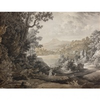 feuille d'étude recto-verso de paysages animés by johann christian reinhart