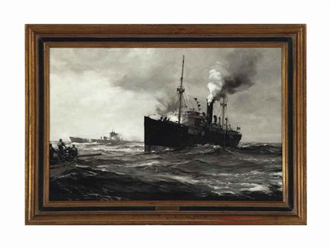victory ship attacked by german u boat by montague dawson
