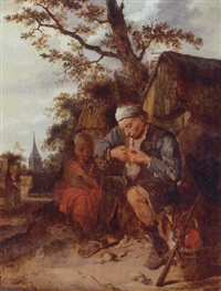 peasants seated outside a farmhouse by harmen hals