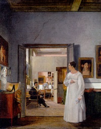the atelier of ingres in rome by jean alaux