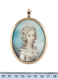 a lady, wearing white dress with frilled collar and strand of pearls across her bust, pendant on a fine gold chain about her neck and white ribbon in hair by philip jean
