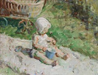 the artist's grandson, hans julius, sitting in the garden by julius paulsen
