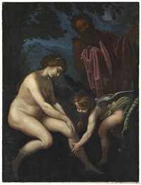venus, cupid and pan by giovanni bilivert
