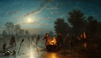 nighttime winter landscape with skaters and a koek en zopie by johann mongels culverhouse