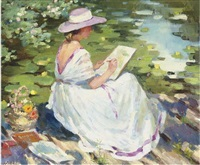 a young lady painting beside a lily pond by nadejda noukalo