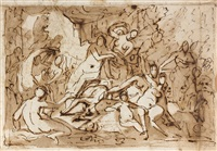 bacchanale (+ another; 2 works) by cornelis schut the elder