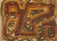 ocker-braun-orange umrissene formen über umbrafarbener konstruktion und kurven by hermann glöckner