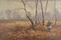 skogsparti med rissamlande flicka by arthur h. rigg