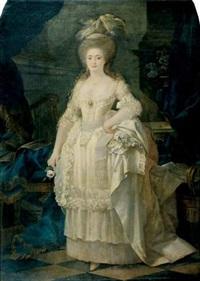 portrait de jeune femme à la rose by lié-louis périn-salbreux