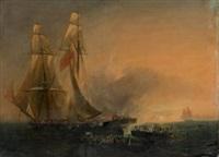 abordage d'un bateau pirate par trois chaloupes françaises by f. simons