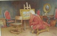 admiring a painting by john arthur lomax