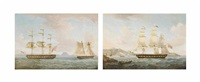 the armed merchantman hibernia, under the command of captain john lennon, disengaging from the action with the american privateer comet off the island of saba on the morning of 12th january (+ the armed merchantman hibernia entering the harbour of charlott by thomas whitcombe