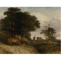 deer at the edge of a clearing at sunset by william john higgins