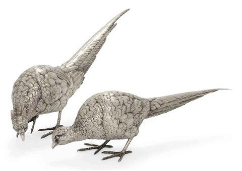 pheasant table ornaments pair by neresheimer