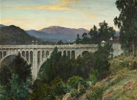 view of the colorado street bridge the arroyo seco and the san gabriel mountains at sunset pasadena ca by henry leopold richter