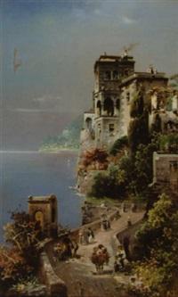 promeneurs près d'une villa italienne en bord de mer by robert allot