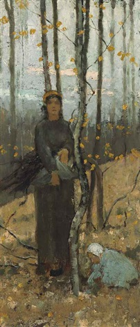 woman and child in wooded landscape by theodore robinson
