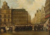 assemblée des gardes sur la place du marché d'anvers by flemish school (19)