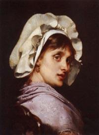 jeune femme à la coiffe by tony robert-fleury