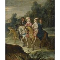 an elegant company on horseback by hans jordaens iii