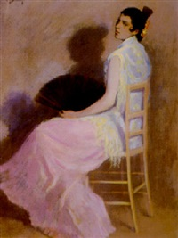 spanish woman with a fan by william turner dannat
