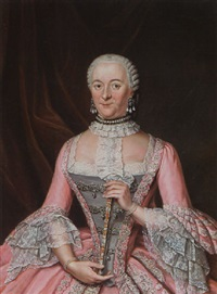 a portrait of a lady wearing an embroidered pink satin dress with grey bodice, lace cuffs and collar holding a fan by tiebout regters