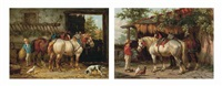 feeding the horses (+ the end of the day; pair) by willem jacobus boogaard