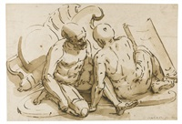 two seated naked soldiers, their shields lying beside them by luca cambiaso