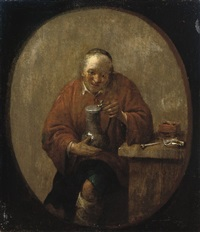 a peasant drinking and smoking at a table by adriaen verdoel