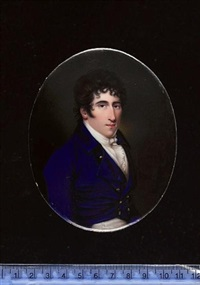 william wix wearing blue coat, white waistcoat, frilled chemise, tied stock and breeches by henry spicer