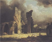 the ruins of glastonbury abbey, with figures and livestock in the foreground, and glastonbury tor beyond by george arnald