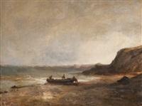 barque accostant au rivage by emile godchaux