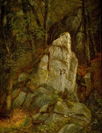 rocks in pearson's ravine by asher brown durand