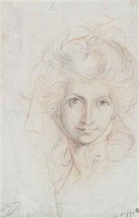 study of the head of a woman, possibly magdalena hess, wearing a head-dress by henry fuseli