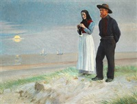 a fisherman and his wife on the beach, sunset by michael peter ancher