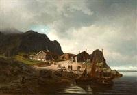 kystmiljø med fiskere by reinholdt fredrik boll