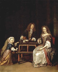 a family drinking tea in an elegant interior with a japanese lacquer tea table by daniel haringh