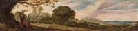 2 bilder: a) demeter unter baum sitzend, auf weite landschaft blickend b) poseidon unter baum sitzend, mit wasserfall vor weiter landschaft by anonymous-dutch (17)
