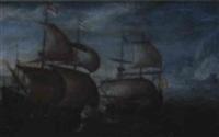 vaisseaux par mer agitée by aert van antum