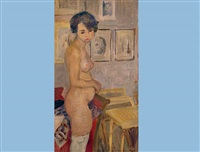 standing nude in stockings by charles felix appenzeller