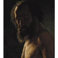 study of a bearded man, possibly for a painting of saint jerome by théodore géricault
