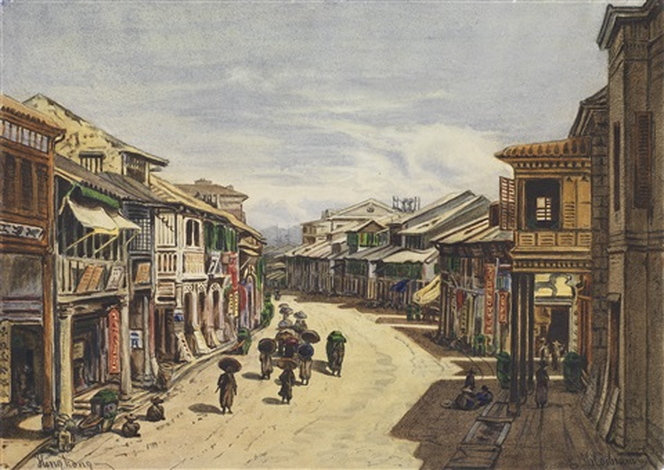 a hong kong street scene by eduard hildebrandt