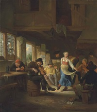 a tavern interior with a woman dancing, musicians and other figures merrymaking by egbert van heemskerck