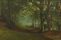 path by a lake in a forest by albert bierstadt