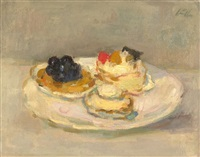 still life with pastries on white earthenware dish (+ landscape, smllr; 2 works) by gerhard arnold christiaan smith