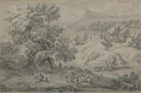 bandits ambushing a coach (+ horsemen in a pastoral landscape; 2 works) by dirk maes
